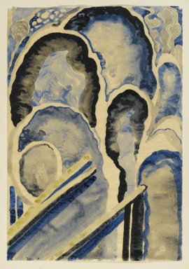 Georgia O'Keeffe (American, 1887-1986). Blue #1, 1916. Watercolor, graphite, on paper, 15 15/16 x 10 15/16 in.  (40.5 x 27.8 cm). Brooklyn Museum, Bequest of Mary T. Cockcroft, by exchange, 58.73