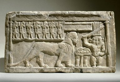 Stela with the Gods Bes and Tutu, 332-30 B.C.E. Limestone, 10 7/16 x 18 3/4 x 3 9/16 in., 47.4 lb. (26.5 x 47.7 x 9 cm, 21.5kg). Brooklyn Museum, Charles Edwin Wilbour Fund, 58.98. Creative Commons-BY