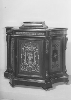 American. Cabinet, ca. 1860. Walnut, inlaid satinwood, 43 x 17 x 50 1/2 in. (109.2 x 43.2 x 128.3 cm). Brooklyn Museum, Gift of Mrs. Alfred Zoebisch, 59.143.24a-b. Creative Commons-BY