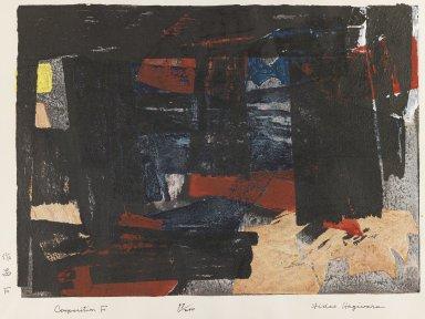 Hagiwara Hideo (Japanese, born 1913). Composition F. Woodcut in color, 11 x 15 3/16 in. (28 x 38.5 cm). Brooklyn Museum, Dick S. Ramsay Fund, 59.183.1. © Hagiwara Hideo