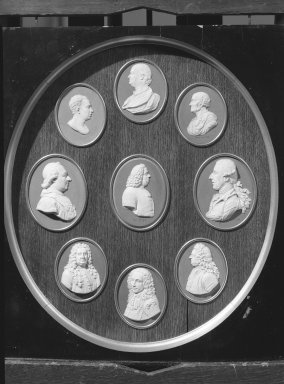 Wedgwood & Bentley (1759-present). Oval Portrait Medallion. White on blue jasperware Brooklyn Museum, Gift of Emily Winthrop Miles, 59.202.20i. Creative Commons-BY