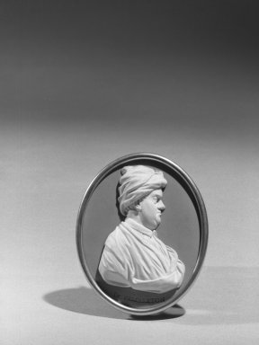 Wedgwood & Bentley (1759-present). Oval Portrait Medallion. White on blue jasperware Brooklyn Museum, Gift of Emily Winthrop Miles, 59.202.21a. Creative Commons-BY