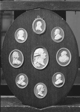 Wedgwood & Bentley (1759-present). Oval Portrait Medallion. White on blue jasperware Brooklyn Museum, Gift of Emily Winthrop Miles, 59.202.22c. Creative Commons-BY