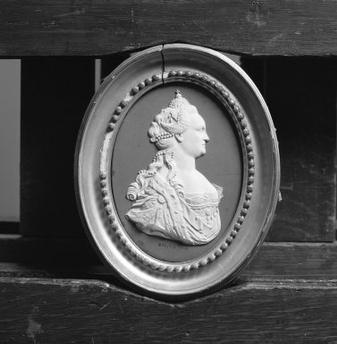 Wedgwood & Bentley (1759-present). Portrait Medallion of Empress Catherine II of Russia, ca.1775. White on blue jasperware, 4 7/8 x 3 1/2 in. (12.4 x 8.9 cm). Brooklyn Museum, Gift of Emily Winthrop Miles, 59.202.6. Creative Commons-BY