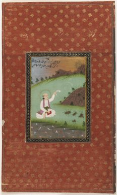 Indian. Saint Shams-i Tabriz, 1875-1900. Opaque watercolor and gold on paper, sheet: 19 3/4 x 11 3/4 in.  (50.2 x 29.8 cm). Brooklyn Museum, Gift of James S. Hays, 59.205.12