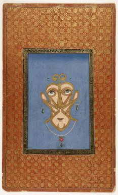 Indian. Calligraphic Face, 1875-1900. Opaque watercolor on paper, sheet: 19 11/16 x 11 7/8 in.  (50.0 x 30.2 cm). Brooklyn Museum, Gift of James S. Hays, 59.205.17