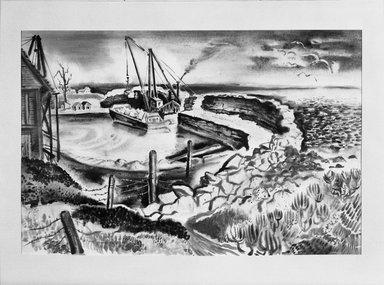 Georges Schreiber (American, 1904-1977). Rockport Landscape, 1937. Watercolor Brooklyn Museum, Gift of Mrs. Benjamin Pepper, 59.234. © Estate of George Schrieber