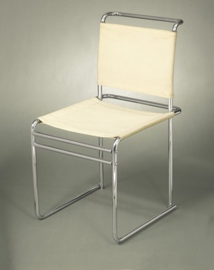 Marcel Breuer. Side Chair, Model B5, ca. 1926. Chromium plated tubular steel, white canvas Brooklyn Museum, Gift of Mr. and Mrs. Alexis Zalstem-Zalessky, 59.236.2. Creative Commons-BY