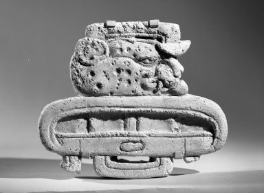 Maya. Glyph Representing Head of Jaguar and Katun, 647 C.E. Stucco Brooklyn Museum, By exchange, 59.237.8. Creative Commons-BY