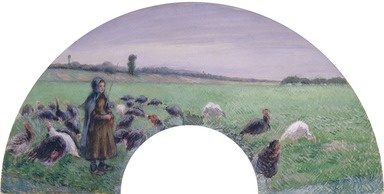 Camille Jacob Pissarro (French, born Danish West Indies, 1830-1903). Girl in Field with Turkeys (La Dindonnière), 1885. Gouache on silk mounted on paper, 18 1/2 x 31 in. (47 x 78.7 cm). Brooklyn Museum, Gift of Edwin C. Vogel, 59.28