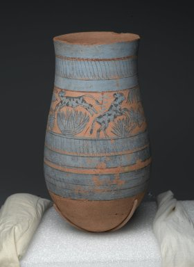 Tear Drop Shaped Vase with Painted Designs of Maidens, Cows, Swamp Plants, etc., ca. 1390-1353 B.C.E. Clay, paint, 11 5/8 x Diam. of body 6 5/16 in. (29.6 x 16 cm). Brooklyn Museum, Charles Edwin Wilbour Fund, 59.2. Creative Commons-BY