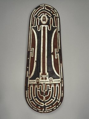 Ceremonial Shield, before 1852. Basketry, nautilus shell, parinarium nut paste, pigment, 31 3/4 x 11 3/4 x 2 1/2 in. (80.6 x 29.8 x 6.4 cm). Brooklyn Museum, Frank L. Babbott Fund and Carll H. de Silver Fund, 59.63. Creative Commons-BY