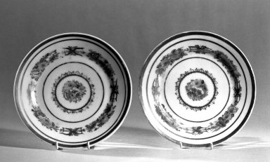 Three Tea Plates, ca. 1835. Tucker porcelain, Diam.: 6 1/4 in. (15.9 cm). Brooklyn Museum, Gift of Philip H. Hammerslough, 59.81.3a-c. Creative Commons-BY