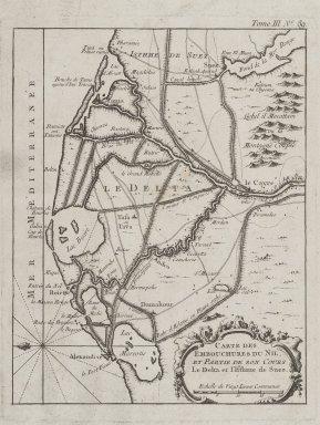Carte Des Embouchures du Nil et Partie de Son Cours de Delta et l'Isthore de Suez, n.d. Map, Sheet: 10 7/16 x 14 3/16 in. (26.5 x 36 cm). Brooklyn Museum, Gift of Mrs. M.D.C. Crawford and Adelaide Goan, 60.108.82d