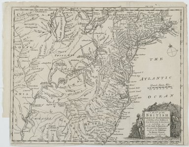 Emanuel Bowen. A Map of the British American Plantations, extending from Boston in New England to Georgia; including all the back settlements in the respective provinces, as far as the Mississipi., 1754. Engraving, Sheet: 11 13/16 x 9 1/16 in. (30 x 23 cm). Brooklyn Museum, Gift of Mrs. M.D.C. Crawford and Adelaide Goan, 60.108.82k