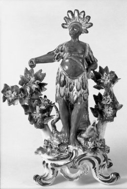 Bow Porcelain Factory. Allegorical Figure of America from the Four Continents. Porcelain Brooklyn Museum, Bequest of James Hazen Hyde, 60.12.30. Creative Commons-BY