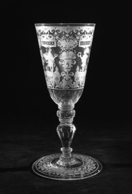 Colored Goblet and Cover, 18th century. Glass, H: 9 5/8 in. (24.4 cm). Brooklyn Museum, Bequest of James Hazen Hyde, 60.12.91a-b. Creative Commons-BY