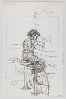 Isabel Bishop (American, 1902-1988). Soda Fountain, ca. 1965. Black ink and graphite on off-white, moderately thick, smooth wove paper, Sheet: 11 5/16 x 7 3/8 in. (28.7 x 18.7 cm). Brooklyn Museum, Dick S. Ramsay Fund, 60.126.2. © Estate of Isabel Bishop