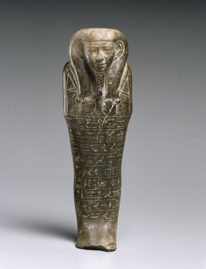 Egyptian. Shawabti of the Count of Thebes, Montuemhat, ca. 670-650 B.C.E. Steatite, 8 3/4 x 3 x 2 in. (22.2 x 7.6 x 5.1 cm). Brooklyn Museum, Charles Edwin Wilbour Fund, 60.182. Creative Commons-BY