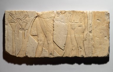 Relief, offering scene, ca. 1353–1336 B.C.E. Limestone, painted, 9 3/16 x 20 1/2 in. (23.4 x 52 cm). Brooklyn Museum, Charles Edwin Wilbour Fund, 60.197.1. Creative Commons-BY