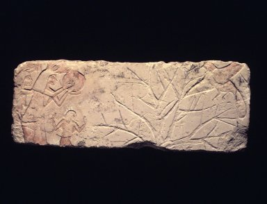 Relief of People Driving off Birds, ca. 1352 - 1336 B.C.E. Limestone, painted, 8 1/4 x 21 1/4 in. (21 x 54 cm). Brooklyn Museum, Charles Edwin Wilbour Fund, 60.197.3. Creative Commons-BY