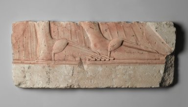 Relief of Sandaled Feet of a Royal Woman, 1352-1332 B.C. Limestone, painted, 8 7/8 x 21 3/4 in. (22.6 x 55.3 cm). Brooklyn Museum, Charles Edwin Wilbour Fund, 60.197.7. Creative Commons-BY