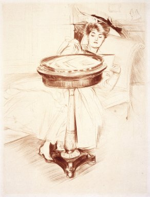 Paul-César Helleu (French, 1859-1927). Woman Reading, ca. 1895. Drypoint on paper, Sheet: 23 1/4 x 17 1/8 in. (59.1 x 43.5 cm). Brooklyn Museum, Gift of Rodman A. Heeren, 60.203.2