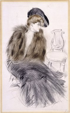 Paul-César Helleu (French, 1859-1927). Woman Seated, ca. 1895. Drypoint on wove paper, Image: 20 3/4 x 12 3/4 in. (52.7 x 32.4 cm). Brooklyn Museum, Gift of Rodman A. Heeren, 60.203.5