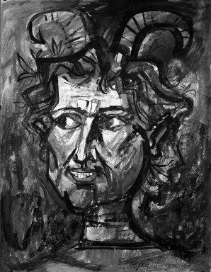 Byron Browne (American, 1907-1961). Pan, ca. 1950s. Gouache on paper Brooklyn Museum, Gift of Dr. Emanuel Klein, 60.215.3. © Estate of Byron Browne
