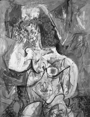Byron Browne (American, 1907-1961). Figure, 1954. Gouache on paper Brooklyn Museum, Gift of Dr. Emanuel Klein, 60.215.4. © Estate of Byron Browne