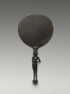 Egyptian. Mirror with Handle in Form of Girl, ca. 1400-1292 B.C.E. Bronze, 8 3/4 x 4 13/16 in. (22.2 x 12.2 cm). Brooklyn Museum, Charles Edwin Wilbour Fund, 60.27.1. Creative Commons-BY