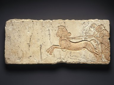 Soldiers in Chariot, ca. 1352-1336 B.C.E. Limestone with modern paint, 21 1/16 x 9 x 1 1/4 in.  (53.5 x 22.8 x 3.2 cm). Brooklyn Museum, Gift of New Hermes Foundation, 60.28. Creative Commons-BY