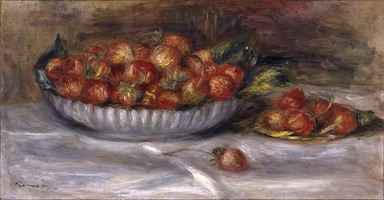 Pierre-Auguste Renoir (French, 1841-1919). Still Life with Strawberries, 1914. Oil on canvas, 9 5/8 x 17 5/8 in. (24.4 x 44.8 cm). Brooklyn Museum, Bequest of Alexander M. Bing, 60.29