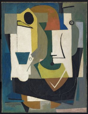 Byron Browne (American, 1907-1961). Variations from a Still Life, 1936-1937; reworked 1951. Oil and gouache on canvas, 46 7/8 x 36 1/16 in. (119.1 x 91.6 cm). Brooklyn Museum, Gift of Mr. and Mrs. Max Rabinowitz, 60.34. © Estate of Byron Browne