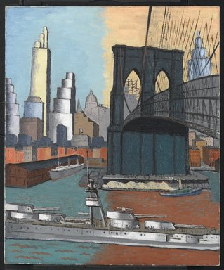 Glenn O. Coleman (American, 1884-1932). Bridge Tower, 1929. Oil on canvas, 30 1/8 x 25 1/8 in. (76.5 x 63.8 cm). Brooklyn Museum, Gift of Charles Simon, 60.35