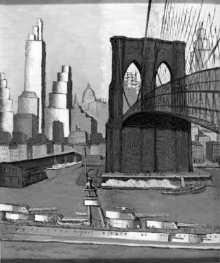 Glenn O. Coleman (American, 1884-1932). Bridge Tower, 1929. Oil on canvas, 30 1/8 x 25 1/8 in. (76.5 x 63.8 cm). Brooklyn Museum, Gift of Charles Simon, 60.35