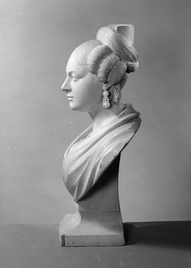 Charles J. Dodge (American, 1806-1886). Mrs. Charles Dodge, ca. 1830-40. Painted wood, 24 5/8 x 15 3/4 x 11 in. (62.5 x 40.0 x 27.9 cm). Brooklyn Museum, Dick S. Ramsay Fund, 60.36. Creative Commons-BY