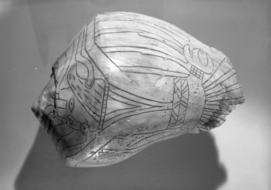 Mississippian (Native American). Engraved Conch Shell, 1200-1500 C.E. Conch shell, pigment, Falcon warrior: 10 7/16 x 7 1/2 x 5 1/2 in. (26.5 x 19.1 x 14 cm). Brooklyn Museum, By exchange, 60.53.1. Creative Commons-BY