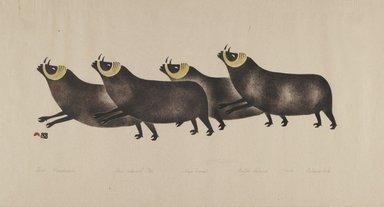 Osuitok Ipeelee (1923-2005). Four Musk Oxen, 1959. Stencil (sealskin), paper, 11 15/16 x 21 15/16 in. (30.3 x 55.8 cm). Brooklyn Museum, Dick S. Ramsay Fund, 60.58.2. © Osheetok Ipeeli, courtesy of Dorset Fine Arts
