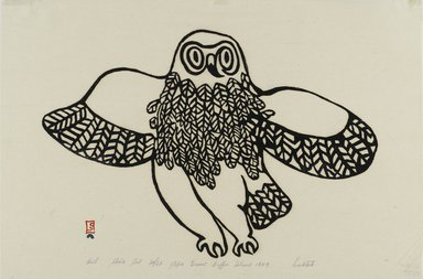 Lukta Qiatsuk (1928-2004). Owl, 1959. Stone cut - relief print, paper, ink, 9 3/4 x 14 1/4 in. (24.7 x 36.2 cm). Brooklyn Museum, Dick S. Ramsay Fund, 60.58.5. © Lukta Qiatsuk, courtesy of Dorset Fine Arts