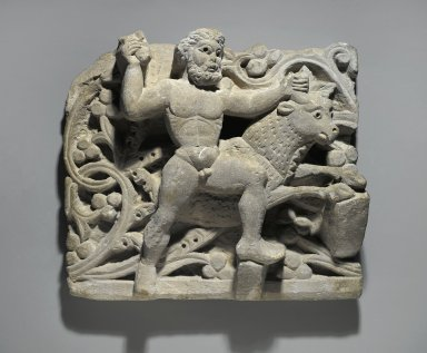 Heracles Smiting Acheloos in the Form of a Bull, ca. 300-500 C.E. Limestone, 13 x 14 15/16 x 4 1/2 in. (33 x 38 x 11.5 cm). Brooklyn Museum, Charles Edwin Wilbour Fund, 61.128. Creative Commons-BY