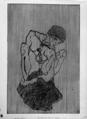Egon Schiele (Austrian, 1890-1918). Sorrow (Kümmernis), 1914 (before June 16). Drypoint in green on Japan paper, Other (Plate): 18 3/4 x 12 5/16 in. (47.6 x 31.3 cm). Brooklyn Museum, Gift of Margarete Schultz, 61.170