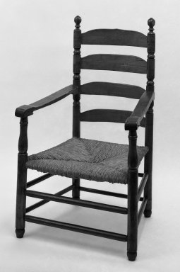 American. Slatbkack Armchair, ca. 1700. wood, 43 3/4 x 25 1/2 in. (111.1 x 64.8 cm). Brooklyn Museum, Gift of Mrs. Bergen Clover, 61.198.6. Creative Commons-BY