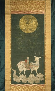 Deer Mandara, ca. 1300. Hanging scroll, ink, color and gold on silk, Image: 34 5/8 x 15 3/8 in. (88 x 39 cm). Brooklyn Museum, Gift of Professor Harold G. Henderson, 61.204.11