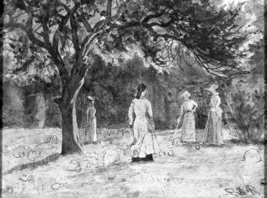 Ralph Albert Blakelock (American, 1847-1919). Croquet Game. Watercolor Brooklyn Museum, Gift of Ferdinand Davis, 61.206
