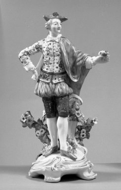 Chelsea/Derby?. Male Figure, ca. 1775. Porcelain, 11 5/8 x 7 3/4 in. (29.5 x 19.7 cm). Brooklyn Museum, Gift of Pearl and Donald S. Morrison, 61.232.16. Creative Commons-BY
