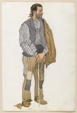 Edward Penfield (American, 1866-1925). Sketch of a Spanish Man, 1906. Watercolor and graphite on paper mounted in scrap book, sheet: 11 5/16 x 7 11/16 in. (28.7 x 19.5 cm). Brooklyn Museum, Gift of the Enoch Pratt Free Library, 61.36.2