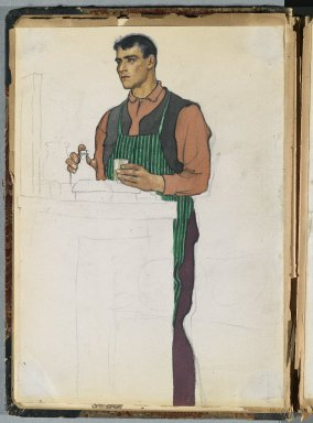 Edward Penfield (American, 1866-1925). Spanish Sketch Mounted in Scrap Book, ca. 1911. Watercolor and graphite on paper mounted in scrap book, sheet: 11 1/4 x 8 1/16 in. (28.6 x 20.5 cm). Brooklyn Museum, Gift of the Enoch Pratt Free Library, 61.36.5