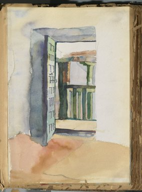 Edward Penfield (American, 1866-1925). Spanish Sketch Mounted in Scrap Book, ca. 1911. Watercolor and graphite on paper mounted in scrap book, sheet: 11 1/4 x 7 11/16 in. (28.6 x 19.5 cm). Brooklyn Museum, Gift of the Enoch Pratt Free Library, 61.36.8