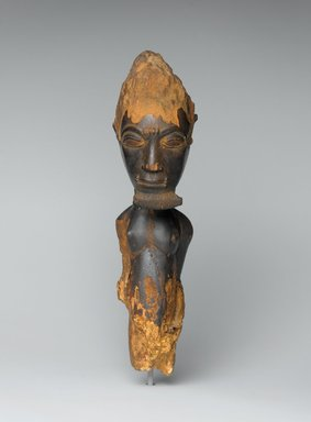 Baule. Male Figure (Waka Sran), early 20th century. Wood, 11 x 3 9/16 x 4 1/4 in. (27.9 x 9 x 10.8 cm). Brooklyn Museum, Frank L. Babbott Fund, 61.3. Creative Commons-BY